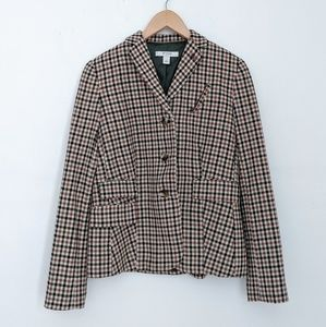NWT Liz Claiborne Gingham Brown Plaid Blazer